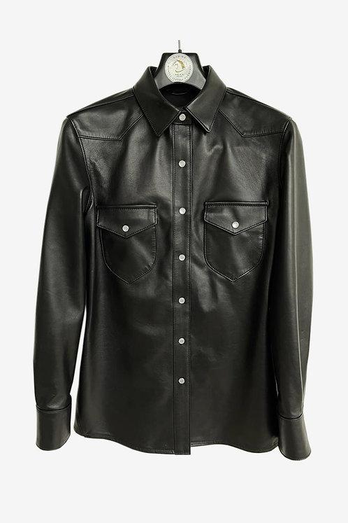 Bespoke Men's Black Leather Shirt Jacket
