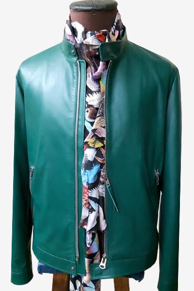 Turquoise Racer Leather Jacket
