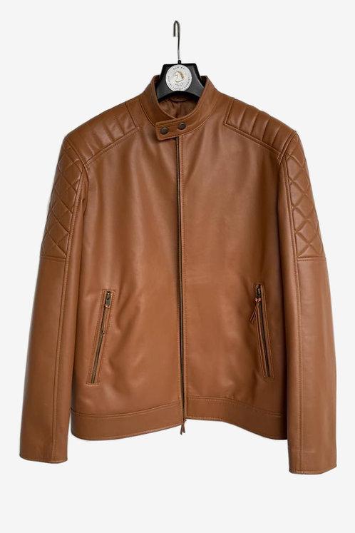 Bespoke Men's Brown Leather Racer Jacket with Padded Shoulders & Sleeves