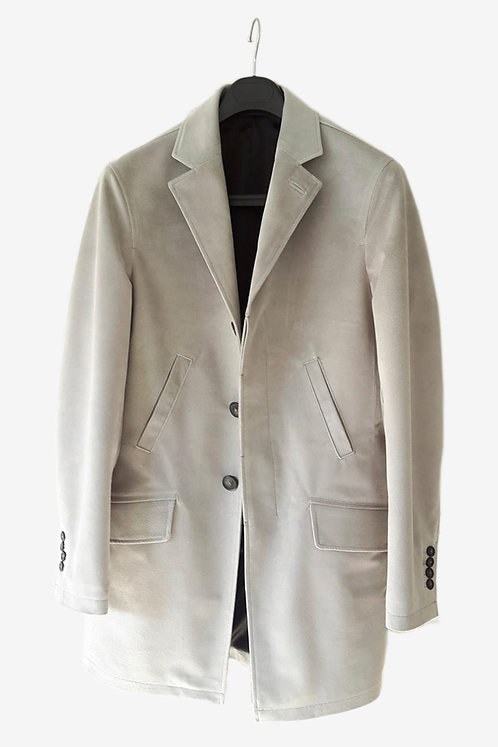 Bespoke Light Grey Suede Half Coat with Black Lining