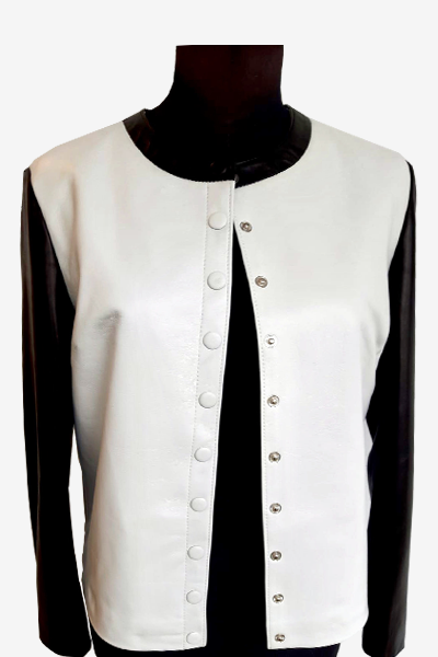 Black and White Leather Blouson Jacket