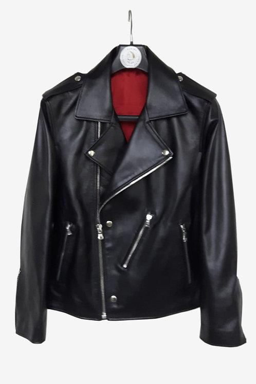 Bespoke Black Lambskin Leather Biker Jacket