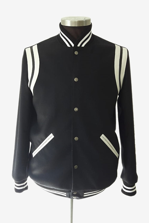 Bespoke Italian Mixed Black and White Baseball Jacket
