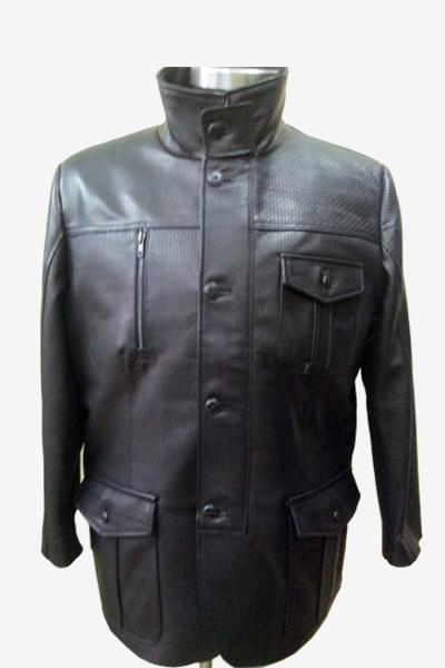 Black Punched Leather Field Jacket