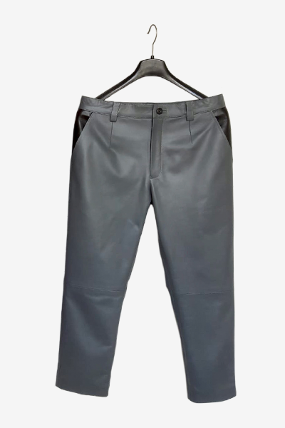 Grey Lambskin Leather Pants