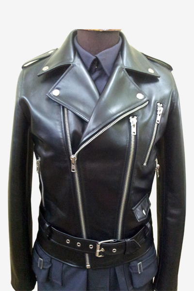 Black Leather Biker Jacket with Fasteners and Asymmetric Zip