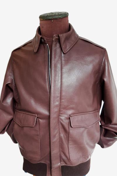 Burgundy Aviator Leather Jacket