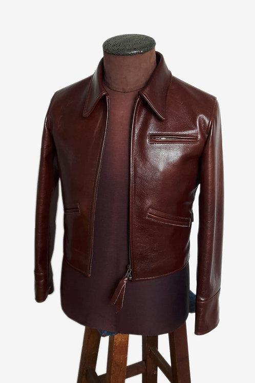 Bespoke Brown Men's Cowhide Leather Jacket