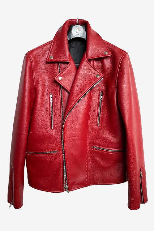 Bespoke Red Lambskin Leather Biker Jacket