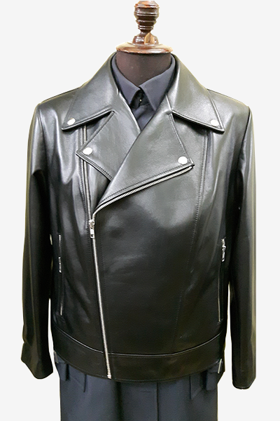 Black Double Rider Biker Leather Jacket with Fasteners