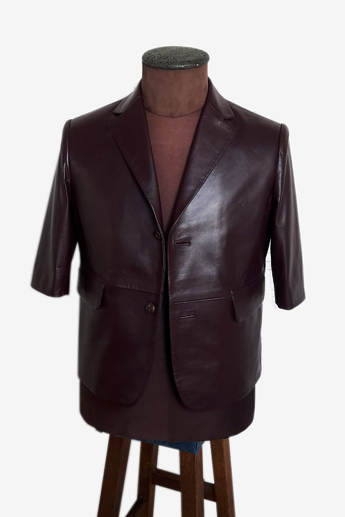 Bespoke Dark Burgundy Short Sleeves Lambskin Blazer with Fancy Lining