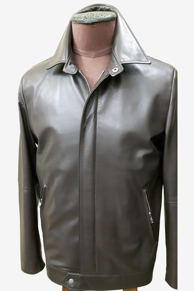 Black Leather Blouson Jacket