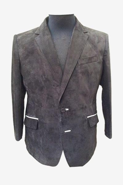 Grey Suede Leather Blazer