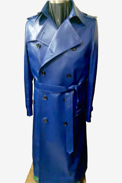 Blue Leather Trench Coat with Storm Flap