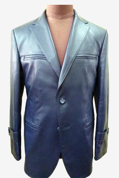 Blue Lambskin Leather Blazer