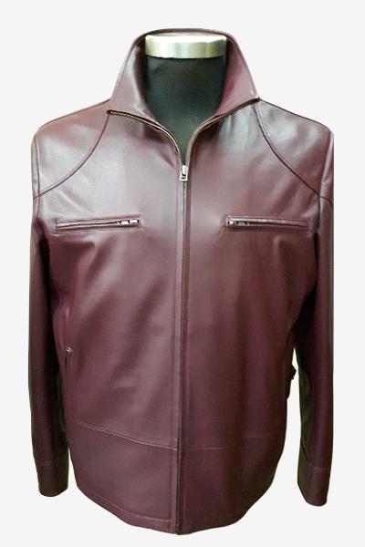 Burgundy Cafe Racer Leather Jacket