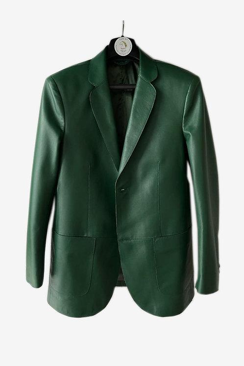 Bespoke Men's Green Lambskin Leather Blazer