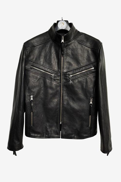 Bespoke Black Leather Racer Jacket
