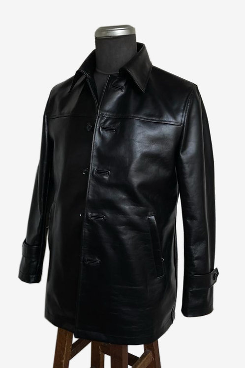 Bespoke Black Italian Cowhide Shirt Jacket
