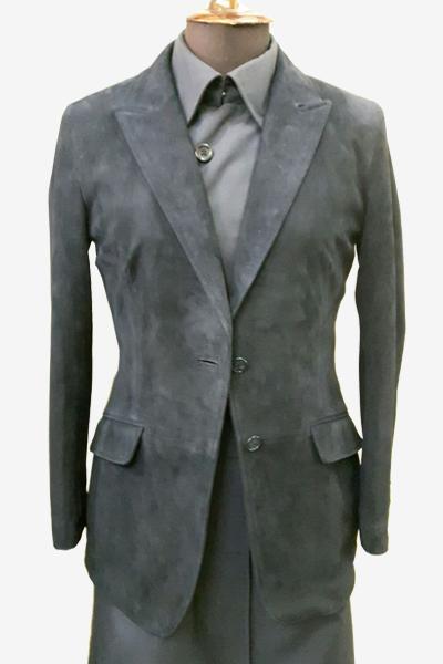 Grey Leather Suede Leather Blazer