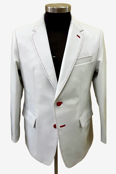 White Lambskin Leather Blazer
