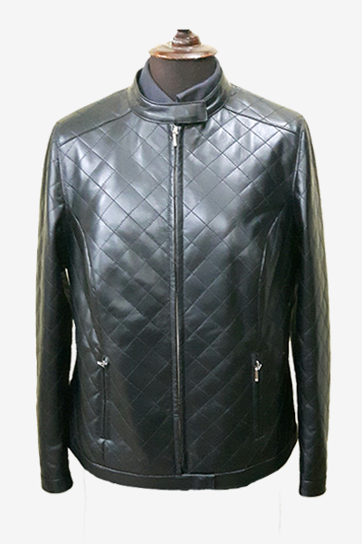 Black Quilted Racer Leather Jacket