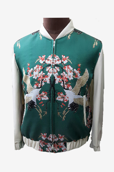 White Leather Bomber with Brocade Front and Back
