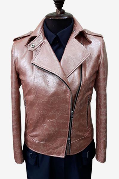 Pink Biker Washed Leather Jacket