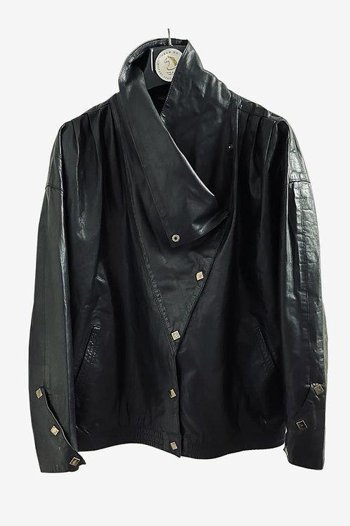 Bespoke Men's Black Washed Leather Jacket