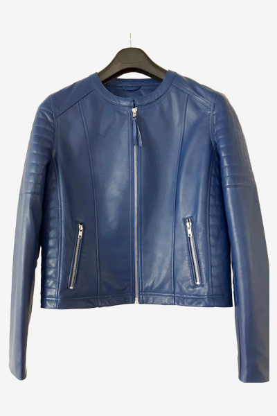 Blue Racer Jacket with Padded Sleeves and Waist
