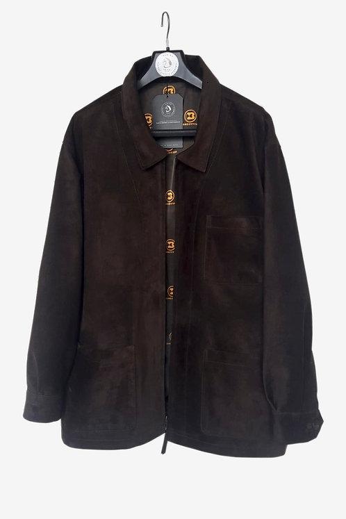 Bespoke Brown Suede Leather Half Coat