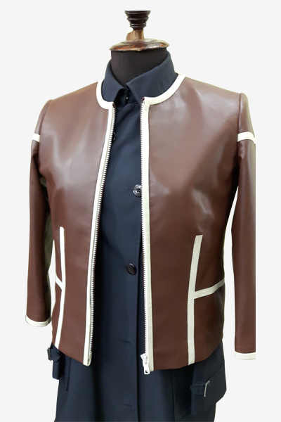 Brown Leather Blouson Jacket with Matching White Stripes