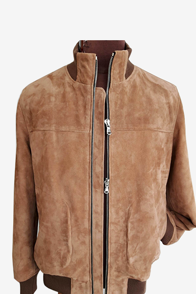 Brown Lamb Suede Leather Bomber Jacket