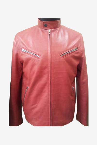 Red Python Printed Leather Racer Jacket
