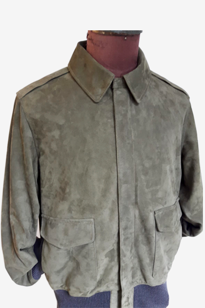 Military Green Lamb Suede Aviator Jacket