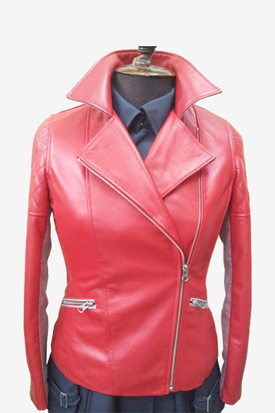 Red Double Rider Biker Leather Jacket with Quilted Sleeves