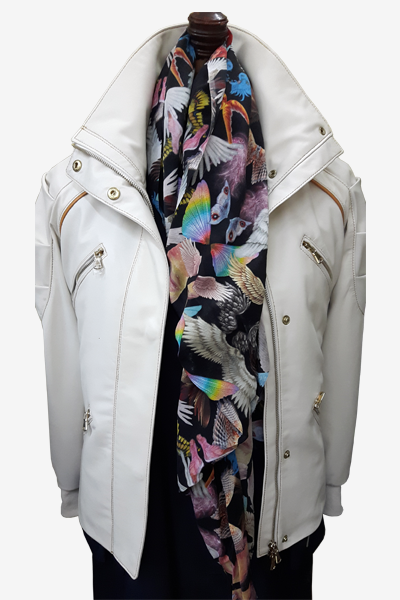 White Leather Field Jacket
