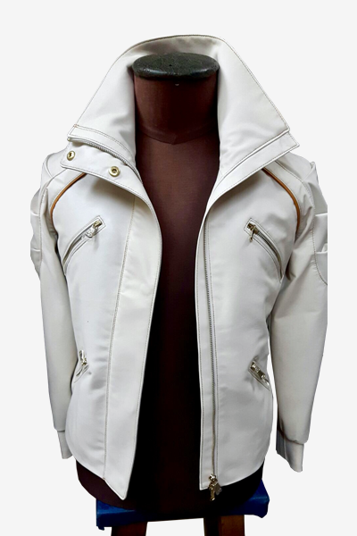 White Lambskin Jacket with Layered Sleeves