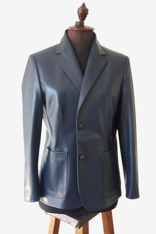 Bespoke Blue Blazer Lambskin Leather Jacket