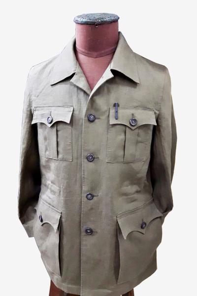 Light Green Safari Linen Jacket