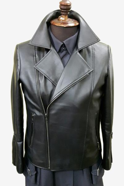 Black Asymmetric Zipped Leather Biker Jacket