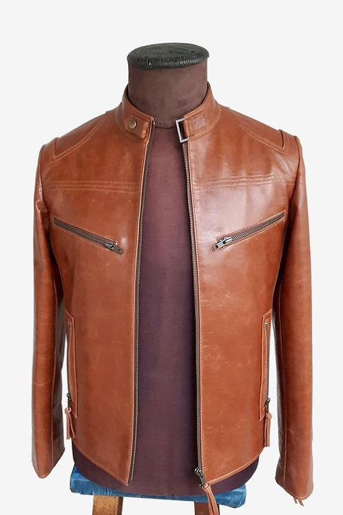 Bespoke Caramel Lambskin Leather Racer Jacket