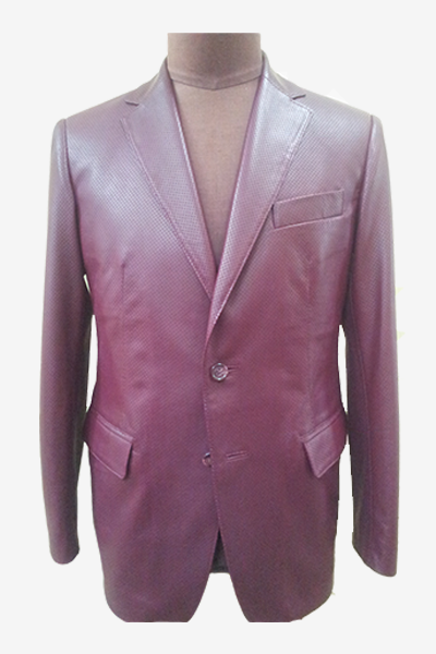 Burgundy Punched Leather Blazer