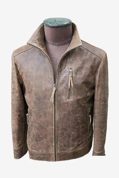 Brown Washed Leather Blouson