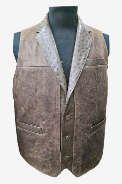 Brown Ostrich and Washed Leather Vest