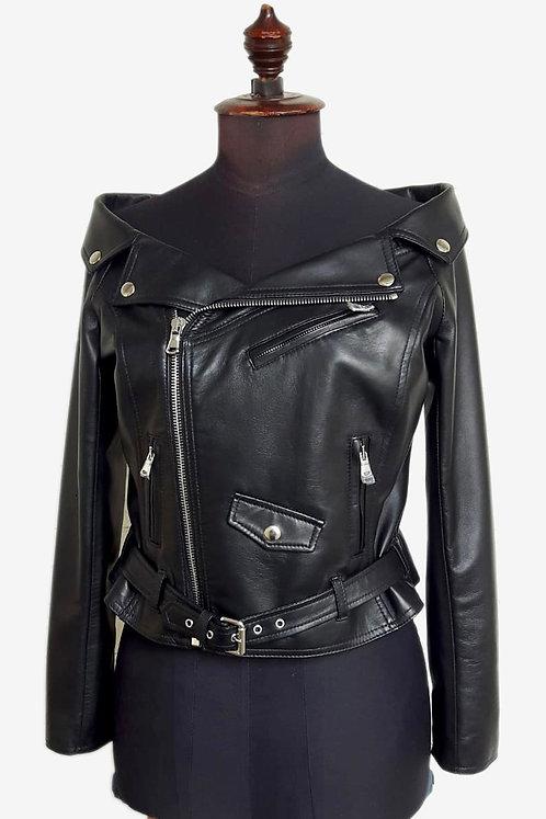 Bespoke Black Off Shoulder Leather Biker Jacket