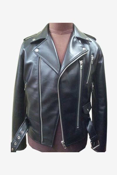 Black Biker Leather Jacket with Fasteners