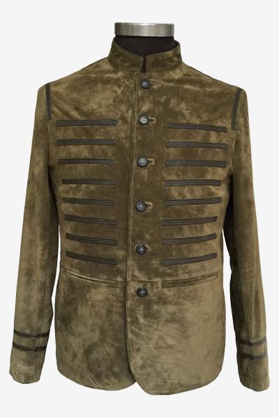 Special Green Suede Blazer Jacket with Mandarin Collar