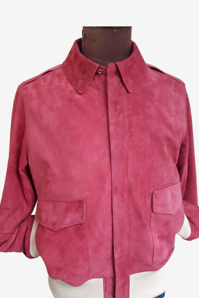 Pink Suede Aviator Jacket