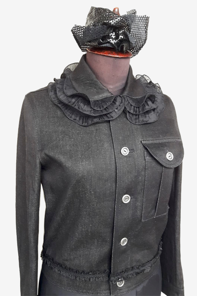 Black Denim Shirt with Special Collar